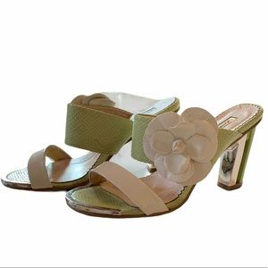 LUVSHOES Color Block green heeled mule Sandals